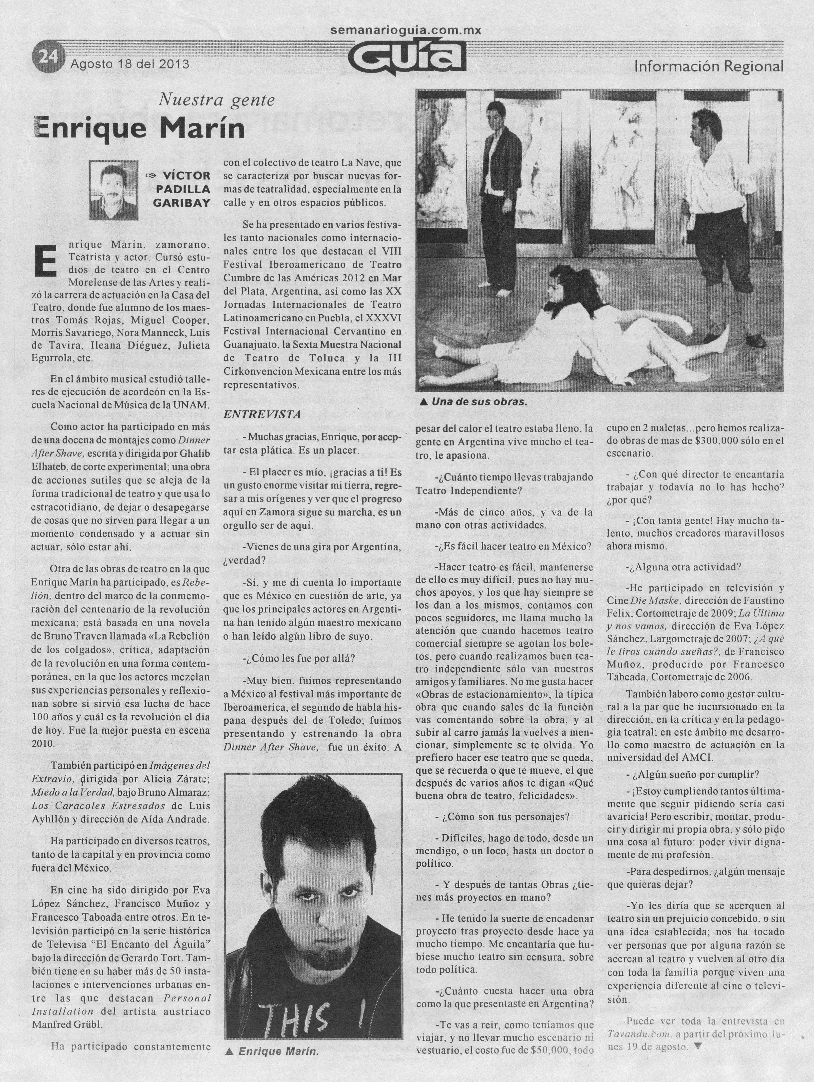 2013 Entrevista de Enrique en Guia